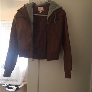 Bongo faux leather jacket with gray hood